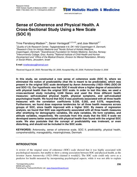 cross sectional study pdf sense of coherence and physical health a cross sectional