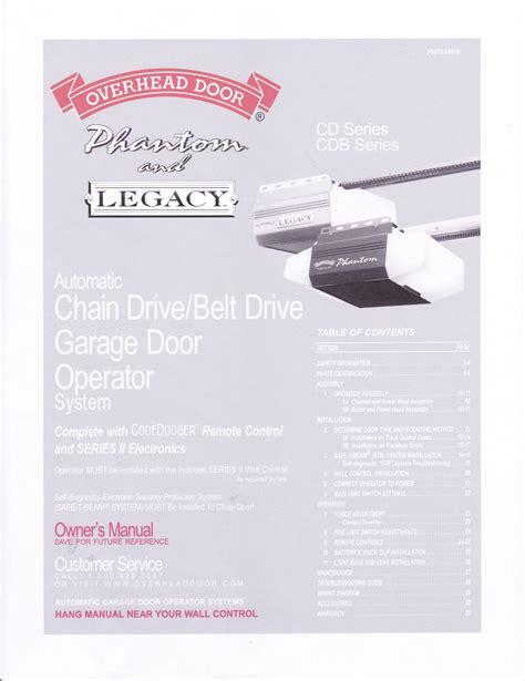 overhead garage door opener legacy manual overhead garage