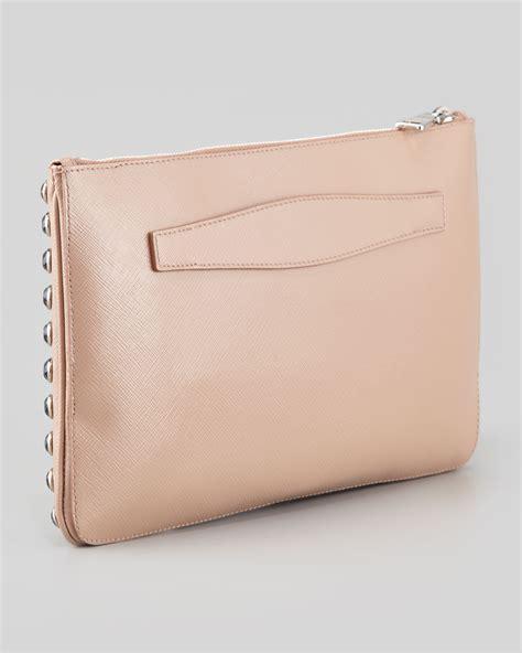 Clucth Handbag Safiano prada saffiano vernice clutch bag in pink lyst