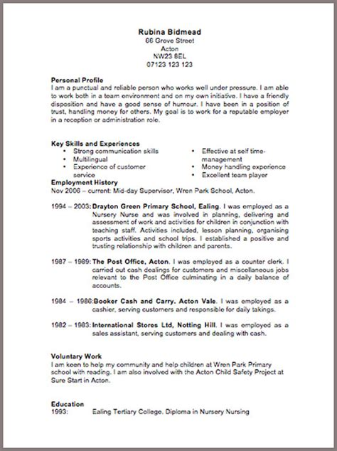 resume templates uk cv template 6 resume cv