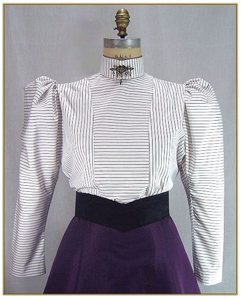 Striped Panel Blouse stripe panel blouse 0376 house staff costume