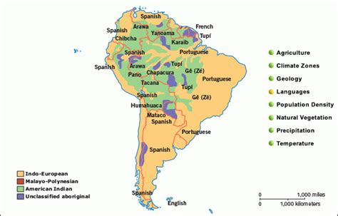 south america map by language grolier atlas