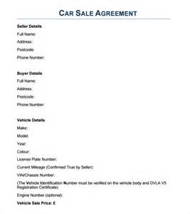 vehicle sale agreement template sle sales agreement 7 exles format