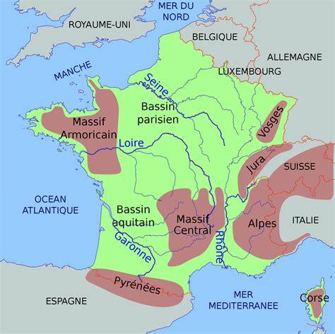 cadenas montañosas de francia wikipedia fichier carte physique simplifi 233 e de la france svg