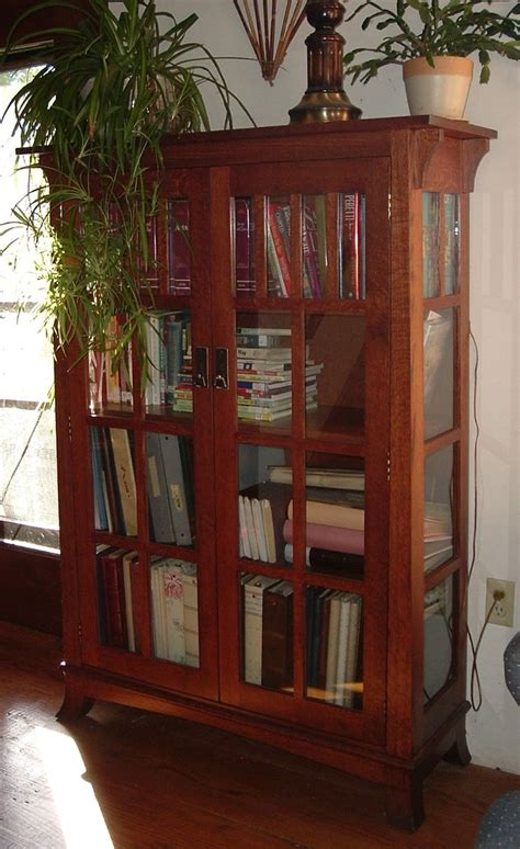 Handmade Mission Bookshelf With Glass Doors By Ivy Lane Mission Style Bookcase With Glass Doors