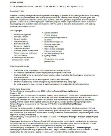 Community Property Manager Resume Sle Regional Property Manager Resume 47 Images Regional