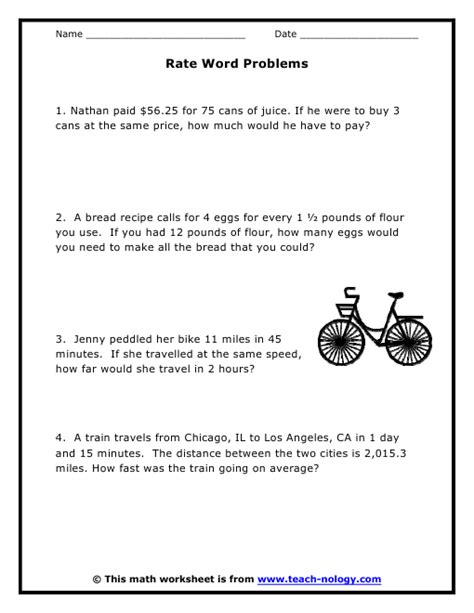 Rates Worksheet 6th Grade by Rate Word Problems