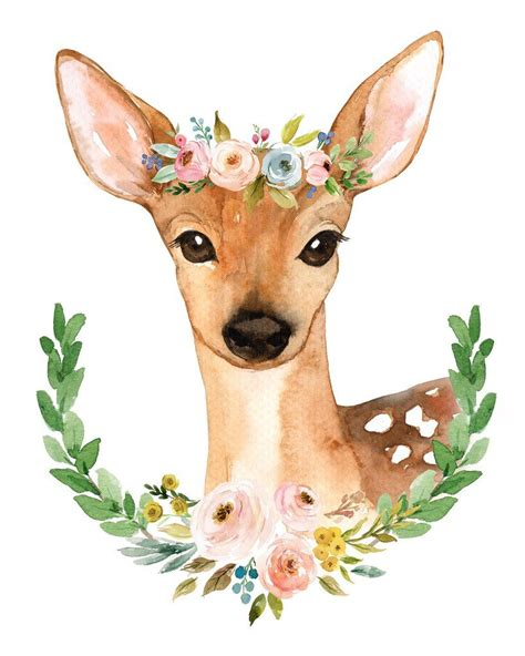 Forest Colorful Flower Crown meadowland deer ii print arte watercolor