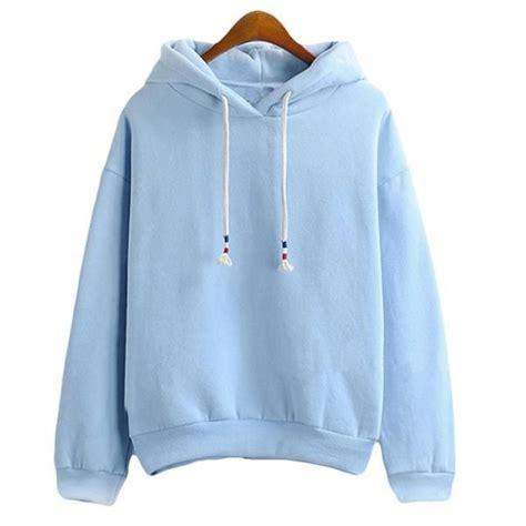 Womens Hoodie Sweatshirts Thick Long Sleeve Light Blue