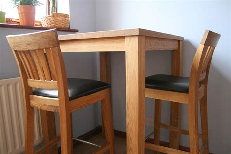 Oak Breakfast Bar Table 50 Java Solid Oak Wooden Bar Pub Cafe Stools Kitchen Real Leather Pad Ebay