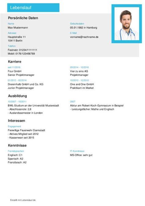 Vorlage Bewerbung Und Lebenslauf by Lebenslauf Vorlagen Muster Kostenloser Als Pdf