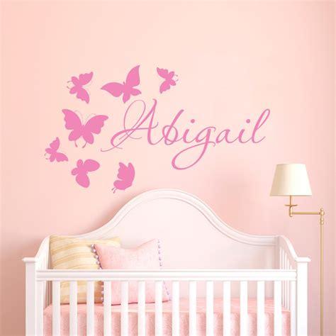 1 nursery girls bedroom 5 butterfly vinyl wall decals custom name wall decor girls