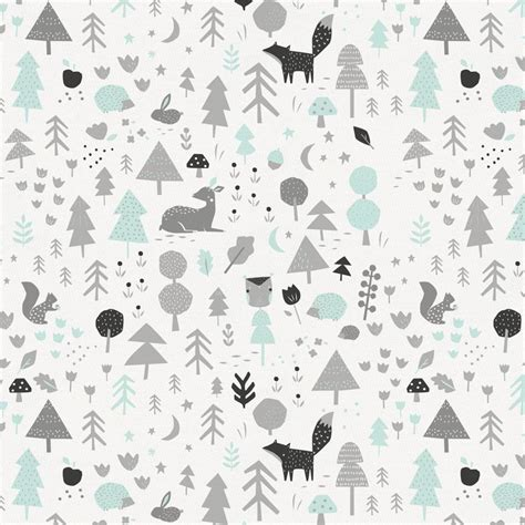 Washable Rugs Icy Mint And Silver Gray Baby Woodland Fabric By The Yard