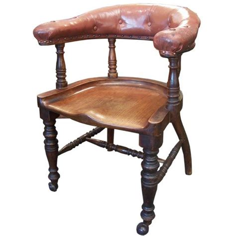 Wood And Leather Desk Chair by Antique Desk Chair Leather And Wood At 1stdibs