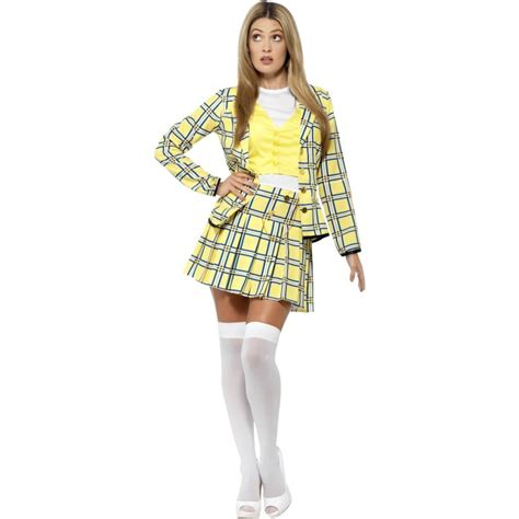 90s fancy dress costumes for girls ladies 90s yellow tartan print clueless cher costume 20597