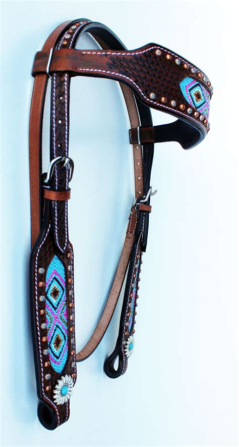 beaded tack show bridle western leather headstall beaded tack