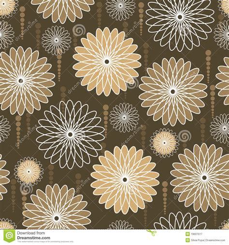 English Floral Curtains Beige And White Flowers On Brown Background Stock Vector