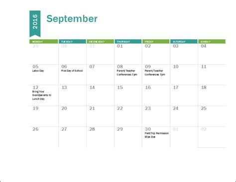 Microsoft Excel Academic Calendar Template