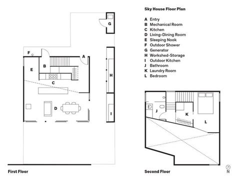 sky house floor plan a entry b mechanical room c kitchen d