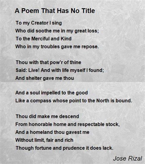 a poem a poem that has no title poem by jose rizal poem