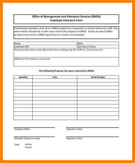 resignation forms for employees employee clearance form