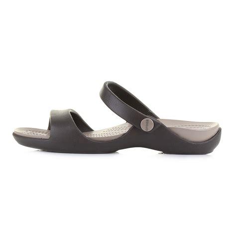 womens croc sandals womens crocs cleo v espresso comfort soft mule