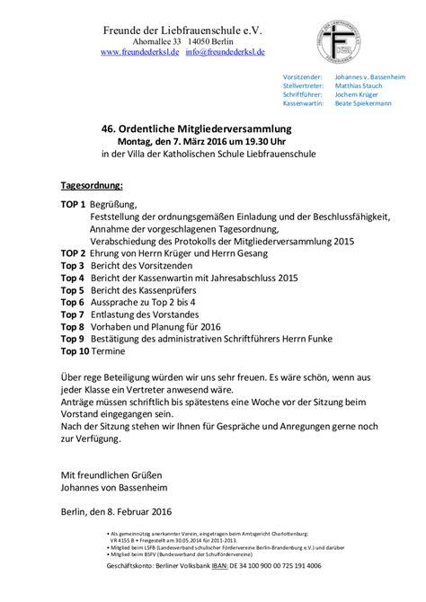 Muster Einladung Zur Ordentlichen Mitgliederversammlung Einladung Zur 46 Ordentlichen Mitgliederversammlung M 228 Rz 2016 171 F 246 Rderverein Quot Freunde Der