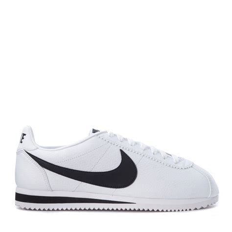 nike white sneaker nike classic cortez sneaker in white leather and black logo