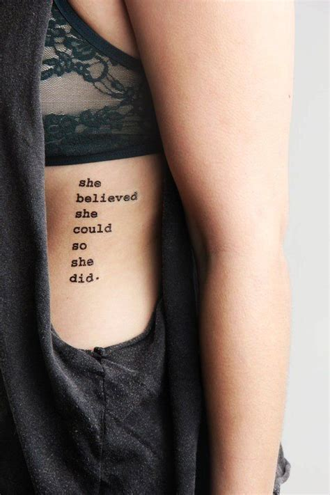 rib tattoo quotes tumblr she believed she could so she did tattoo ideas top picks