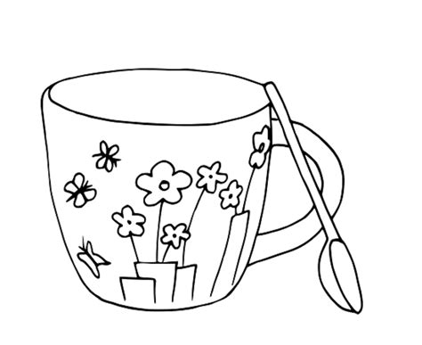Colour Drawing Free Wallpaper Coffee Cup Coloring Drawing Coffee Cup Coloring Pages