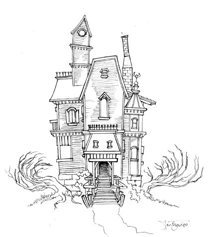 how to draw a spooky house step by step halloween haunted house sketch 01 by magikmarker16 on deviantart
