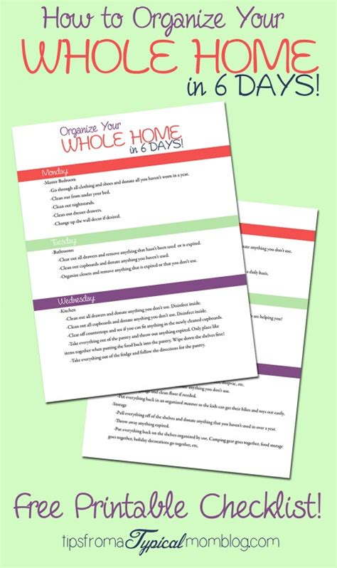 organize my house checklist how to organize your whole home in 6 days with a free