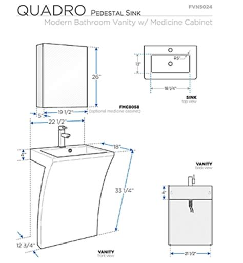 fresca quadro white pedestal sink w medicine cabinet fresca fvn5024wh quadro 22 5 inch white pedestal sink w