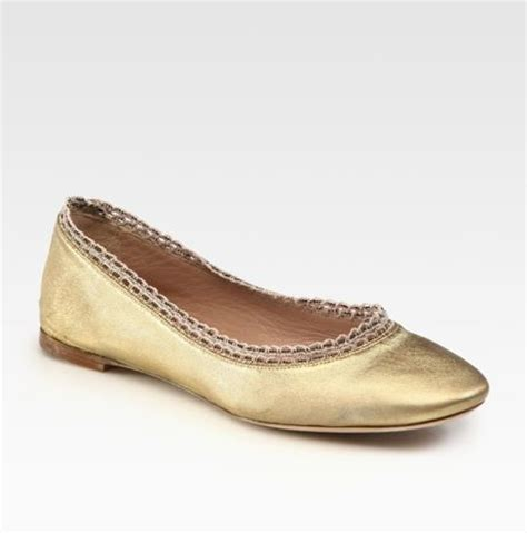 beaded ballet flats chlo 233 beaded metallic leather ballet flats in gold lyst