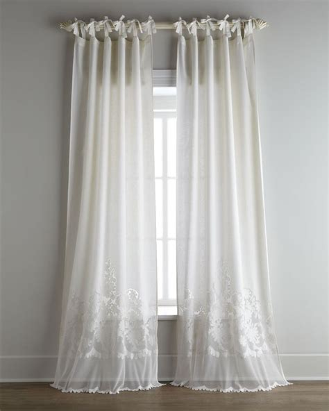bedroom linens and curtains each caprice tie top curtain pearl ivory pom pom at