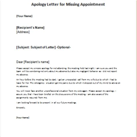 Apology Letter For Missing Exle Formal Official And Professional Letter Templates Part 13