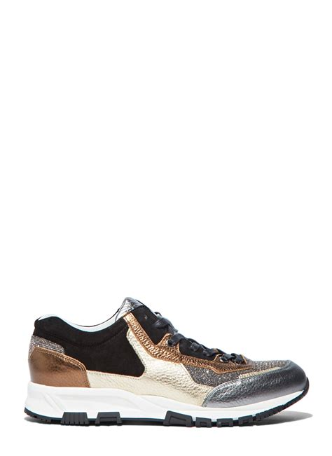 black and gold running shoes lanvin s metallic leather panelled running sneakers