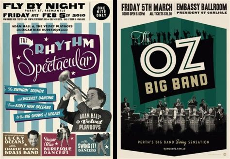 design poster band vintage style big band posters typography pinterest