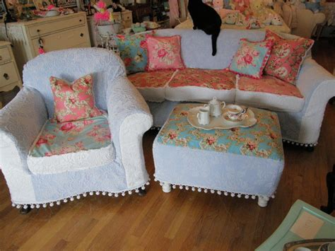 shabby chic slipcovered sofa shabby chic sofa chair ottoman slipcovered chenille