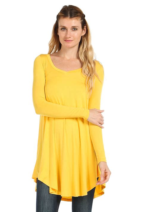 Tunic Top solid knit v neck pullover tunic top