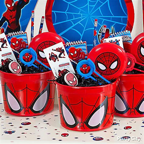 birthday themes spiderman spider man favor bucket idea favor ideas spider man