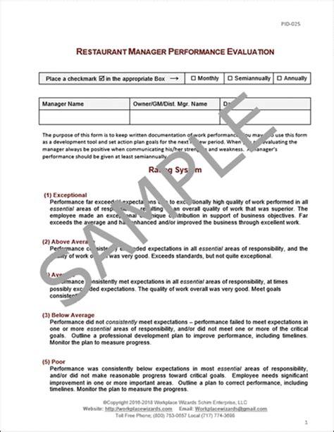 Restaurant Manager Performance Evaluation Form Restaurant Manager Performance Review Template