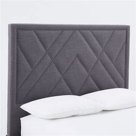 upholstered nailhead headboard patterned nailhead headboard upholstered west elm