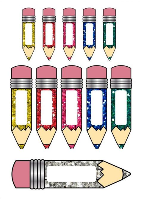Free Color Crayon Name Card Template by Glitter Pencil Name Tags Cards 3 Diff Sizes Classroom