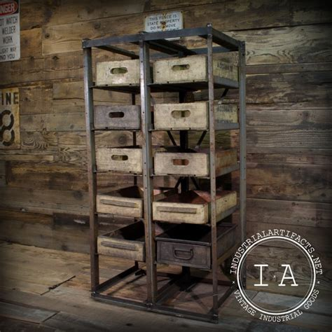 vintage industrial angle steel factory storage rack shelf