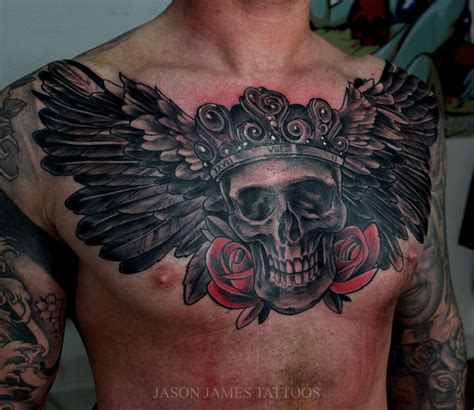 skull with wings tattoo skull wings and roses by jason badass