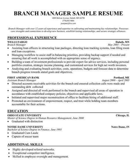 branch manager resume sle assistant branch manager resume exles assistant