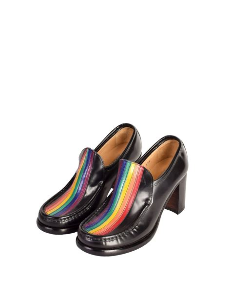 rainbow loafers cox vintage rainbow stripe black leather heeled