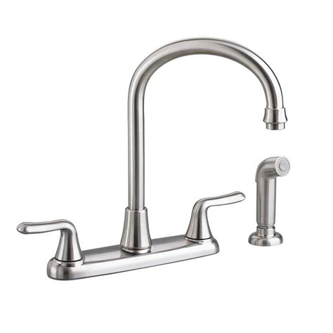 two handle kitchen faucet with sprayer american standard colony soft 2 handle standard kitchen faucet with side sprayer and gooseneck