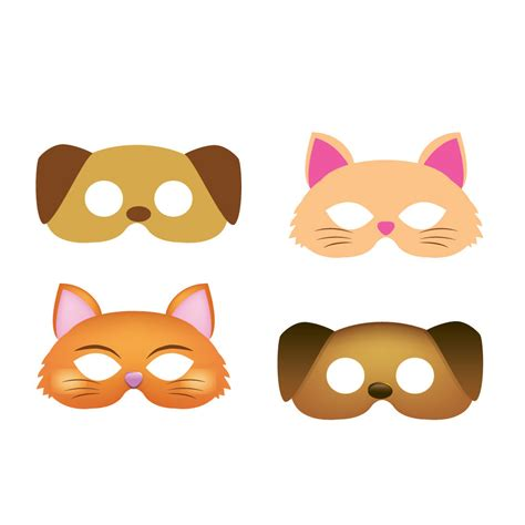 printable puppy mask dog mask cat mask 2 style masks child mask kids mask